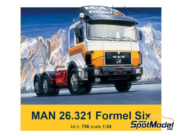 Image 1: Man 26.321 Formel six | Model truck kit in 1/24 scale manufactured by Italeri (ref. 756)