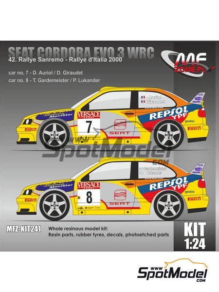 Seat Cordoba EVO 3 WRC - Rally d'Italia Sardinia 2000 | Model car kit in 1/24 scale manufactured by Mf-zone (ref.MFZ-KIT241) image