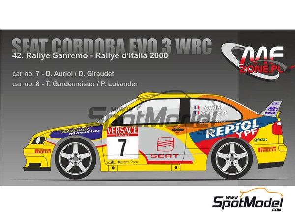 Image 1: Seat Cordoba EVO 3 WRC - Rally d'Italia Sardinia 2000 | Model car kit in 1/24 scale manufactured by Mf-zone (ref.MFZ-KIT241)