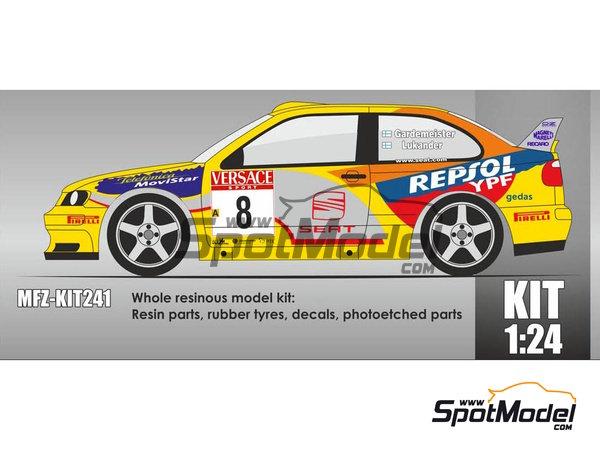 Image 2: Seat Cordoba EVO 3 WRC - Rally d'Italia Sardinia 2000 | Model car kit in 1/24 scale manufactured by Mf-zone (ref.MFZ-KIT241)