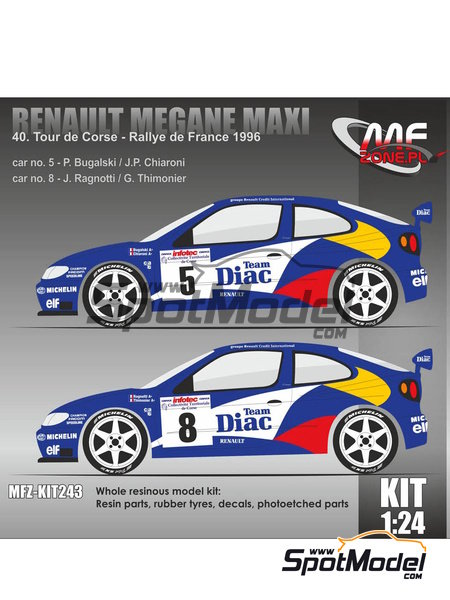 Renault Megane Maxi - Alsace France Rally 1996 | Model kit in 1/24 scale manufactured by Mf-zone (ref.MFZ-KIT243) image