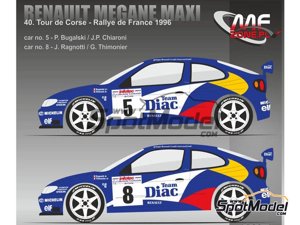 Image 1: Renault Megane Maxi - Alsace France Rally 1996 | Model kit in 1/24 scale manufactured by Mf-zone (ref.MFZ-KIT243)