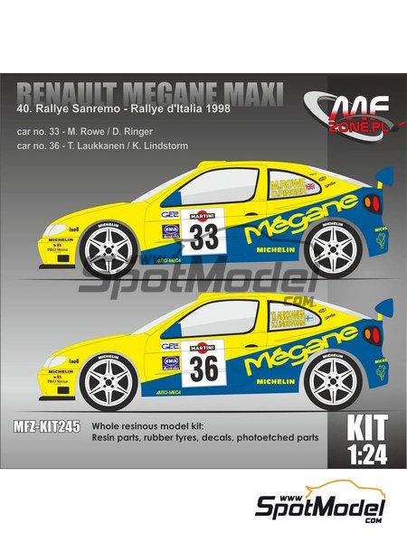 Renault Megane Maxi - Sanremo Rally, Rally d'Italia Sardinia 1998 | Model kit in 1/24 scale manufactured by Mf-zone (ref. MFZ-KIT245) image