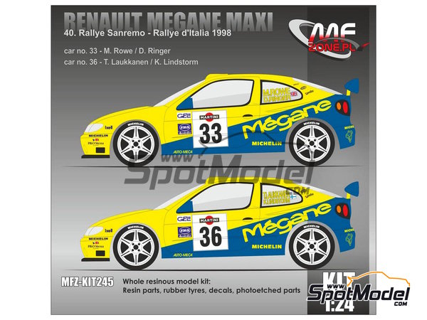 Image 1: Renault Megane Maxi - Sanremo Rally, Rally d'Italia Sardinia 1998 | Model kit in 1/24 scale manufactured by Mf-zone (ref. MFZ-KIT245)