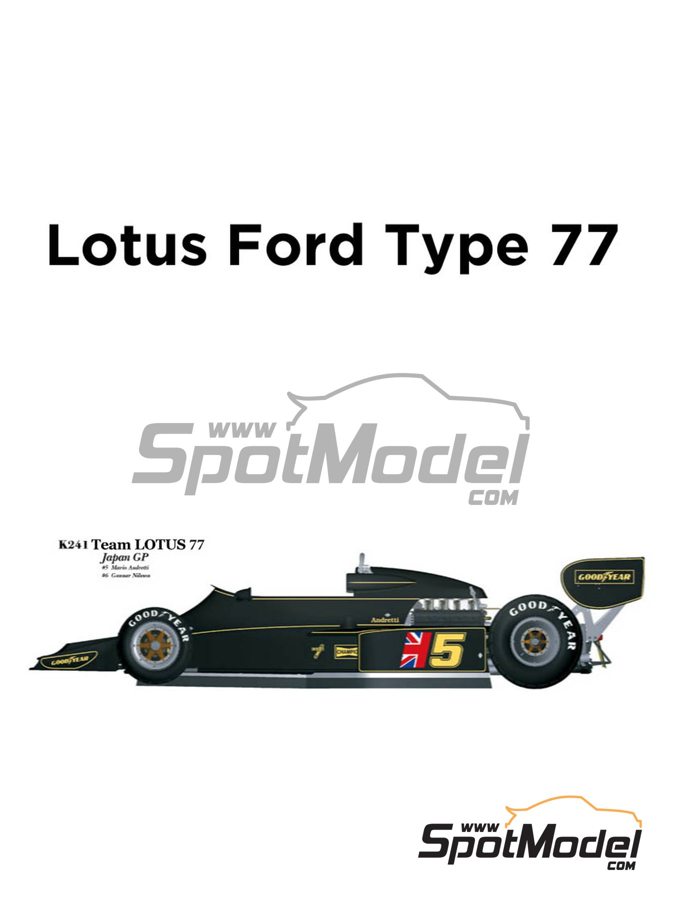 Lotus Ford Type 77 John Player Special - Japanese Formula 1 Grand Prix 1976 | Model car kit in 1/20 scale manufactured by Model Factory Hiro (ref.MFH-K241, also K-241) image