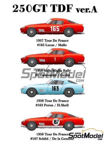 Ferrari 250GT TDF - Mile Miglia, Tour de France Automobile 1957, 1958 and 1959 | Model car kit in 1/24 scale manufactured by Model Factory Hiro (ref. MFH-K290, also K-290) image