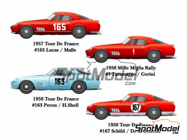 Image 1: Ferrari 250GT TDF - Mile Miglia, Tour de France Automobile 1957, 1958 and 1959 | Model car kit in 1/24 scale manufactured by Model Factory Hiro (ref. MFH-K290, also K-290)