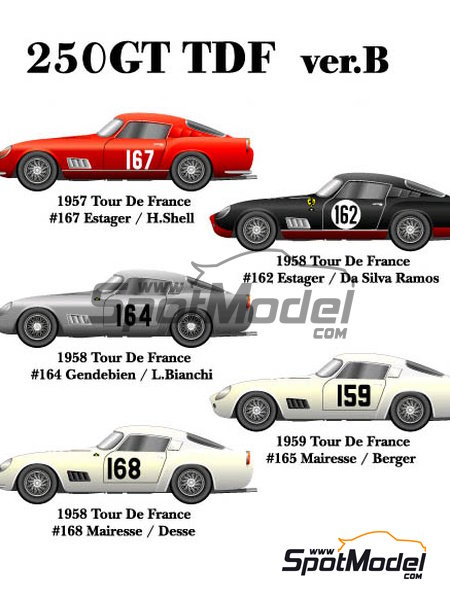 Ferrari 250GT TDF - Tour de France Automobile 1957, 1958 and 1959   Model car kit in 1/24 scale manufactured by Model Factory Hiro (ref.MFH-K291, also K-291) image