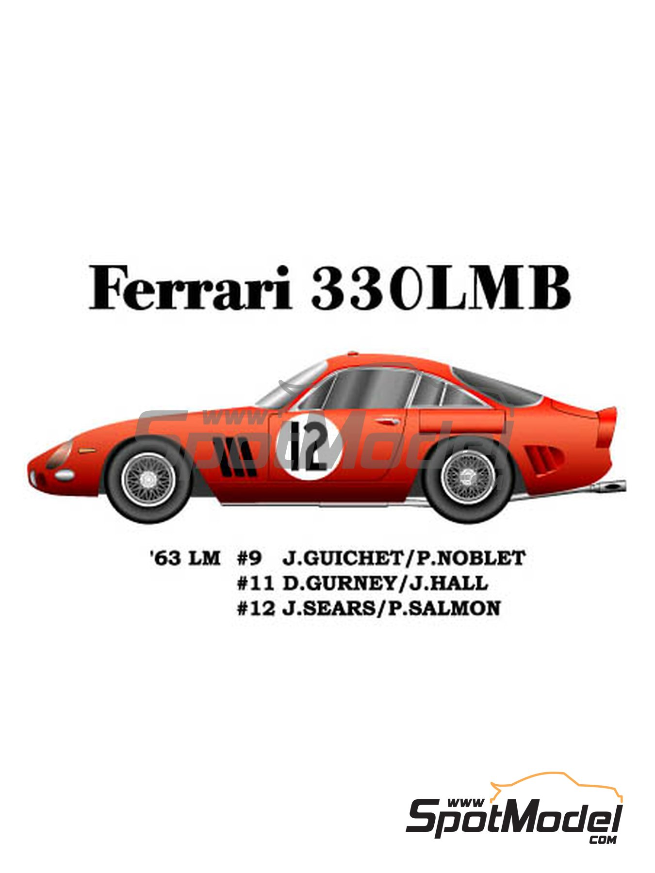 Ferrari 330LMB - 24 Hours Le Mans 1963 | Model car kit in 1/24 scale manufactured by Model Factory Hiro (ref. MFH-K292) image