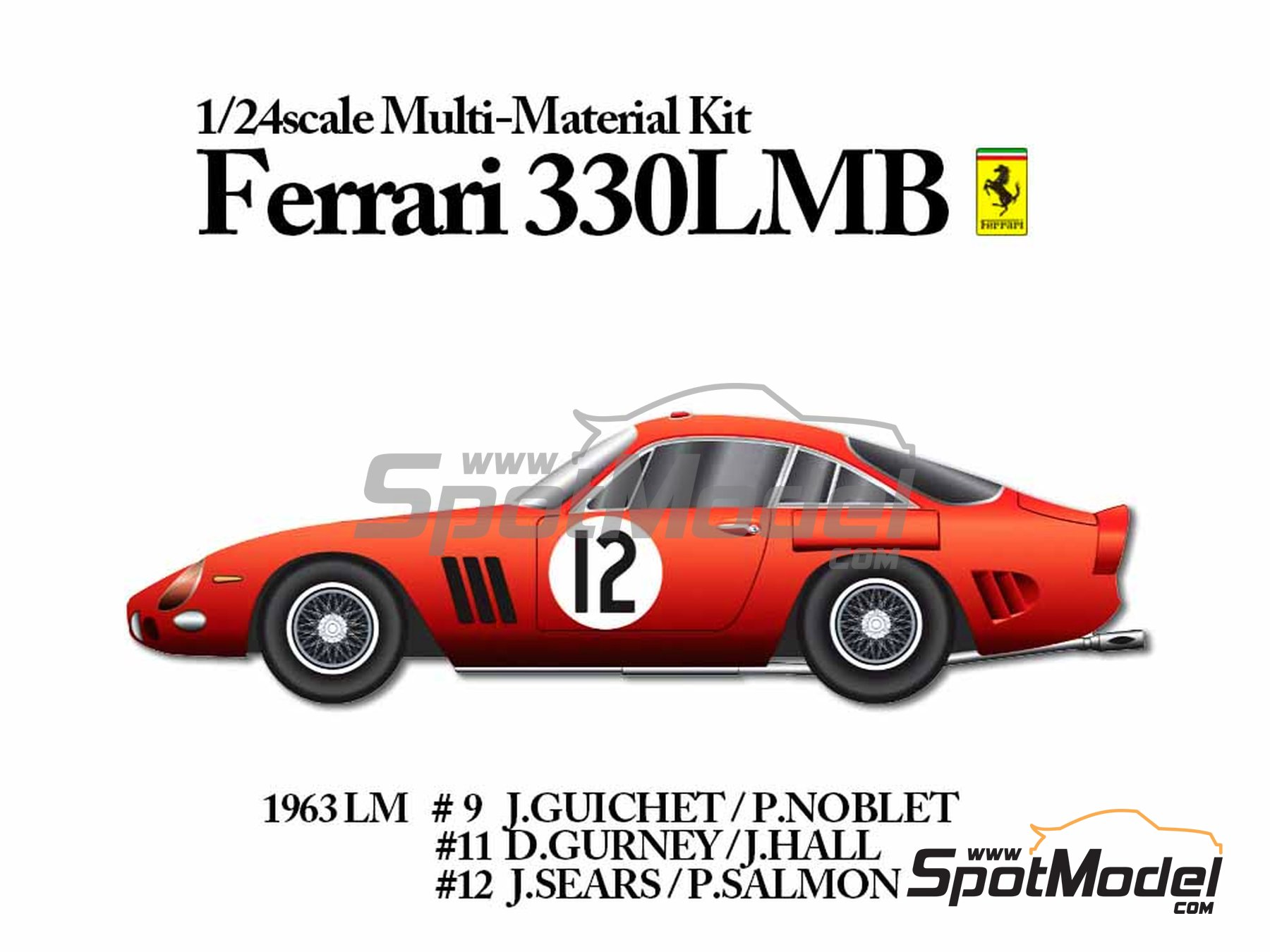 Image 17: Ferrari 330LMB - 24 Hours Le Mans 1963 | Model car kit in 1/24 scale manufactured by Model Factory Hiro (ref. MFH-K292)
