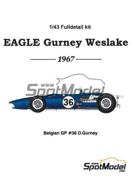 Eagle Gurney Weslake T1G - Belgian Grand Prix 1967 | Car kit in 1/43 scale manufactured by Model Factory Hiro (ref. MFH-K329) image
