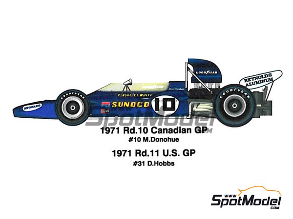 Image 1: McLaren M19A Sunoco - Gran Premio de Fórmula 1 de Canada, Gran Premio de Fórmula 1 de USA 1971 | Maqueta de coche en escala1/20 fabricado por Model Factory Hiro (ref.MFH-K331, tambien K-331)