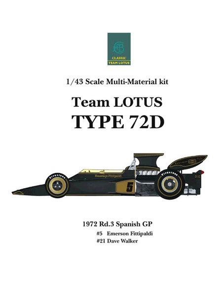 Lotus Ford Type 72D John Player Special - Gran Premio de Fórmula 1 de España 1972   Maqueta de coche en escala1/43 fabricado por Model Factory Hiro (ref.MFH-K333, tambien K-333) image