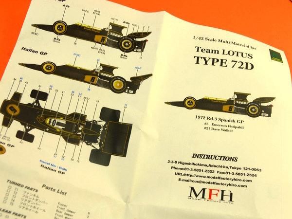 Image 11: Lotus Ford Type 72D John Player Special - Gran Premio de Fórmula 1 de España 1972   Maqueta de coche en escala1/43 fabricado por Model Factory Hiro (ref.MFH-K333, tambien K-333)