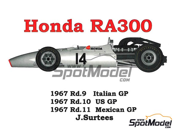 Image 1: Honda RA300 - Italian Formula 1 Grand Prix, Mexican Grand Prix, USA Grand Prix 1967 | Model car kit in 1/43 scale manufactured by Model Factory Hiro (ref. MFH-K343)