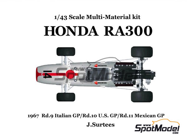Image 2: Honda RA300 - Italian Formula 1 Grand Prix, Mexican Grand Prix, USA Grand Prix 1967 | Model car kit in 1/43 scale manufactured by Model Factory Hiro (ref. MFH-K343)