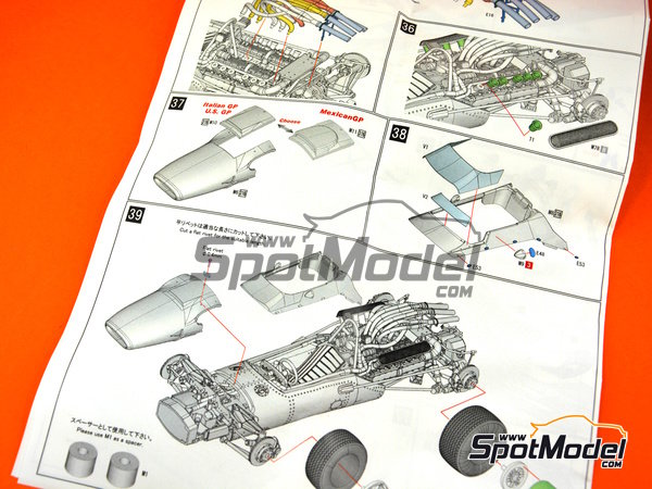 Image 13: Honda RA300 - Italian Formula 1 Grand Prix, Mexican Grand Prix, USA Grand Prix 1967 | Model car kit in 1/43 scale manufactured by Model Factory Hiro (ref. MFH-K343)