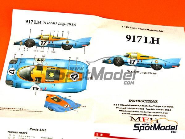 Image 22: Porsche 917 LH Gulf - 24 Horas de Le Mans 1971 | Maqueta de coche en escala1/43 fabricado por Model Factory Hiro (ref.MFH-K348)