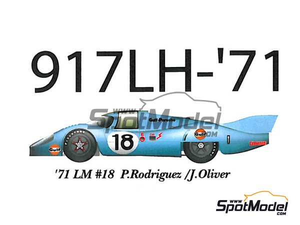 Image 1: Porsche 917 LH Gulf - 24 Hours Le Mans 1971 | Model car kit in 1/43 scale manufactured by Model Factory Hiro (ref.MFH-K349)