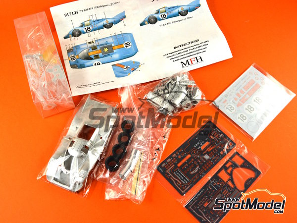 Image 22: Porsche 917 LH Gulf - 24 Hours Le Mans 1971 | Model car kit in 1/43 scale manufactured by Model Factory Hiro (ref.MFH-K349)