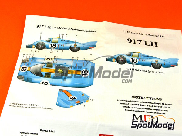 Image 23: Porsche 917 LH Gulf - 24 Hours Le Mans 1971 | Model car kit in 1/43 scale manufactured by Model Factory Hiro (ref.MFH-K349)