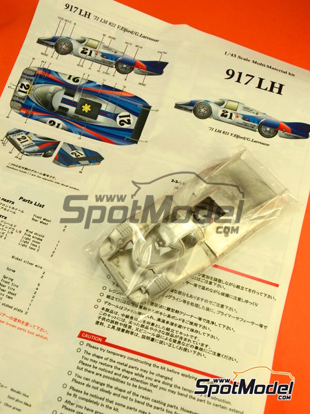 Porsche 917 LH Martini - 24 Hours Le Mans 1971 | Model car kit in 1/43 scale manufactured by Model Factory Hiro (ref. MFH-K350) image