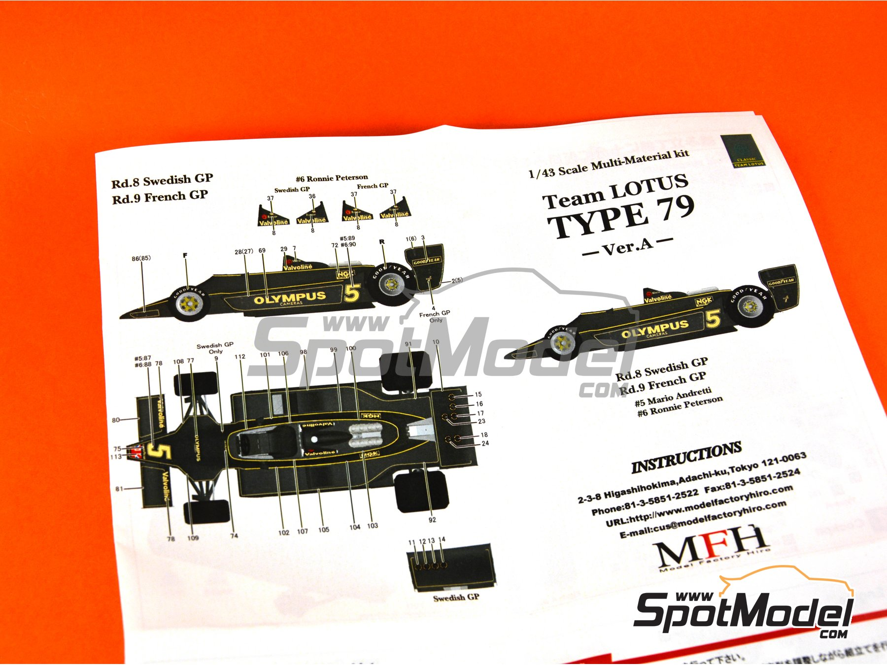 Image 14: Lotus Ford Type 79 Olympus - French Formula 1 Grand Prix, Swedish Grand Prix 1978 | Model car kit in 1/43 scale manufactured by Model Factory Hiro (ref. MFH-K351, also K-351)