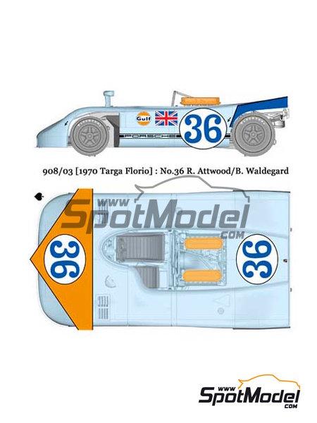 Porsche 908/03 Gulf - Targa Florio 1970 | Maqueta de coche en escala1/24 fabricado por Model Factory Hiro (ref.MFH-K355, tambien K-355) image