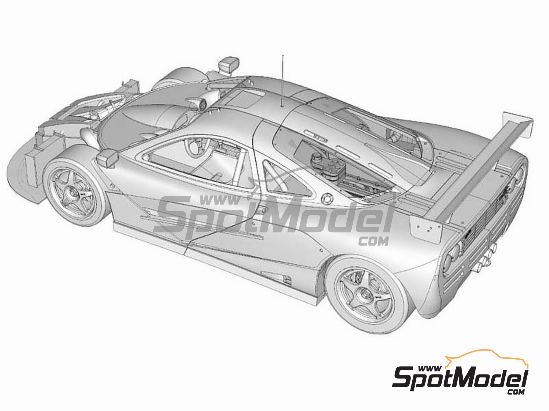 Image 3: McLaren F1 GTR Gulf - 24 Horas de Le Mans 1996 | Maqueta de coche en escala1/24 fabricado por Model Factory Hiro (ref.MFH-K361, tambien K-361)