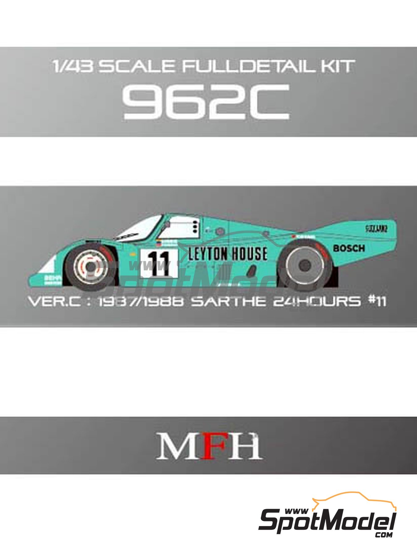 Porsche 962C Leyton House - 24 Hours Le Mans 1987 and 1988 | Model car kit in 1/43 scale manufactured by Model Factory Hiro (ref.MFH-K365, also K-365) image