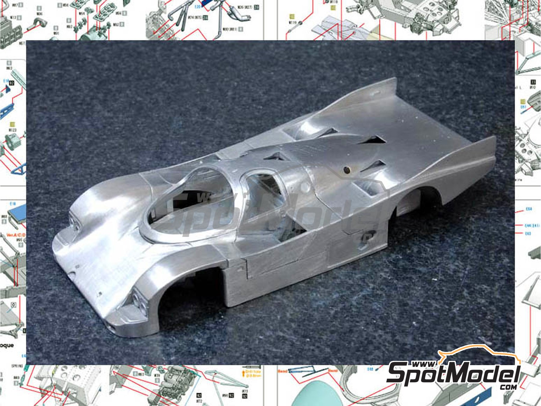 Image 3: Porsche 962C Leyton House - 24 Hours Le Mans 1987 and 1988 | Model car kit in 1/43 scale manufactured by Model Factory Hiro (ref.MFH-K365, also K-365)