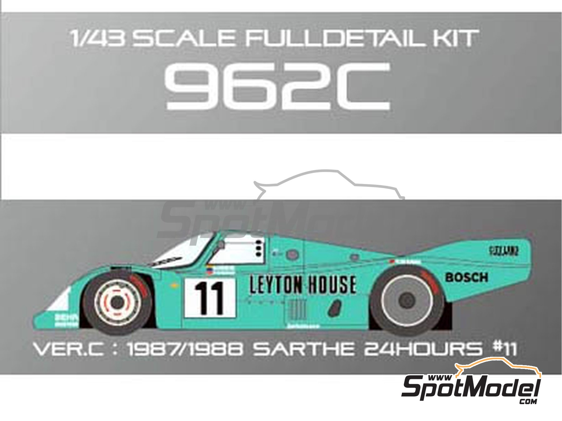 Image 9: Porsche 962C Leyton House - 24 Hours Le Mans 1987 and 1988 | Model car kit in 1/43 scale manufactured by Model Factory Hiro (ref.MFH-K365, also K-365)