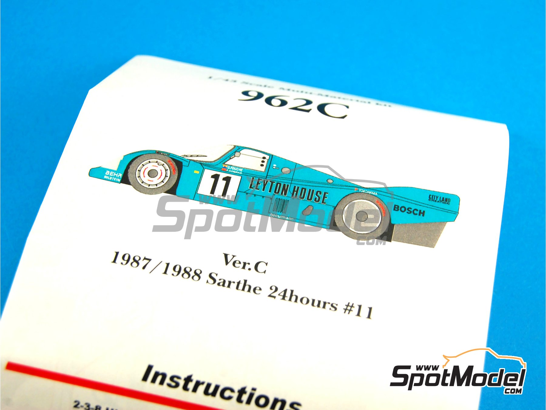 Image 12: Porsche 962C Leyton House - 24 Hours Le Mans 1987 and 1988 | Model car kit in 1/43 scale manufactured by Model Factory Hiro (ref.MFH-K365, also K-365)