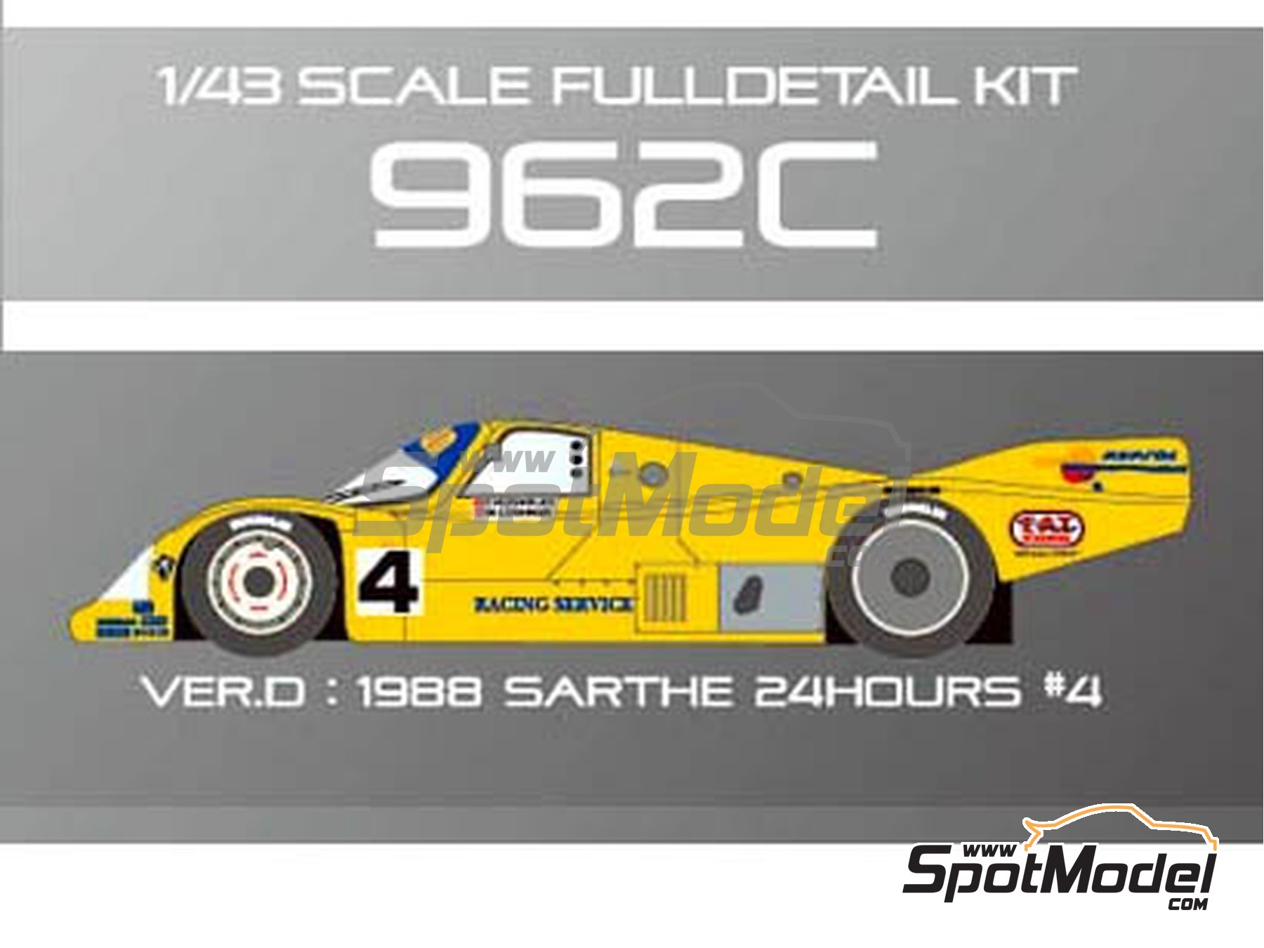 Image 9: Porsche 962C - 24 Hours Le Mans 1988 | Model car kit in 1/43 scale manufactured by Model Factory Hiro (ref. MFH-K366)