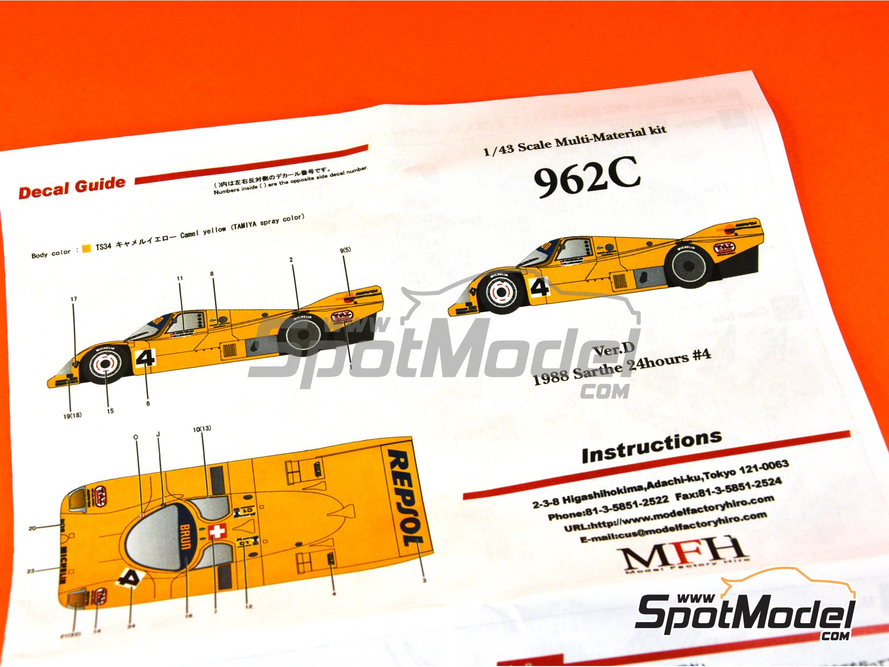 Image 11: Porsche 962C - 24 Hours Le Mans 1988 | Model car kit in 1/43 scale manufactured by Model Factory Hiro (ref. MFH-K366)