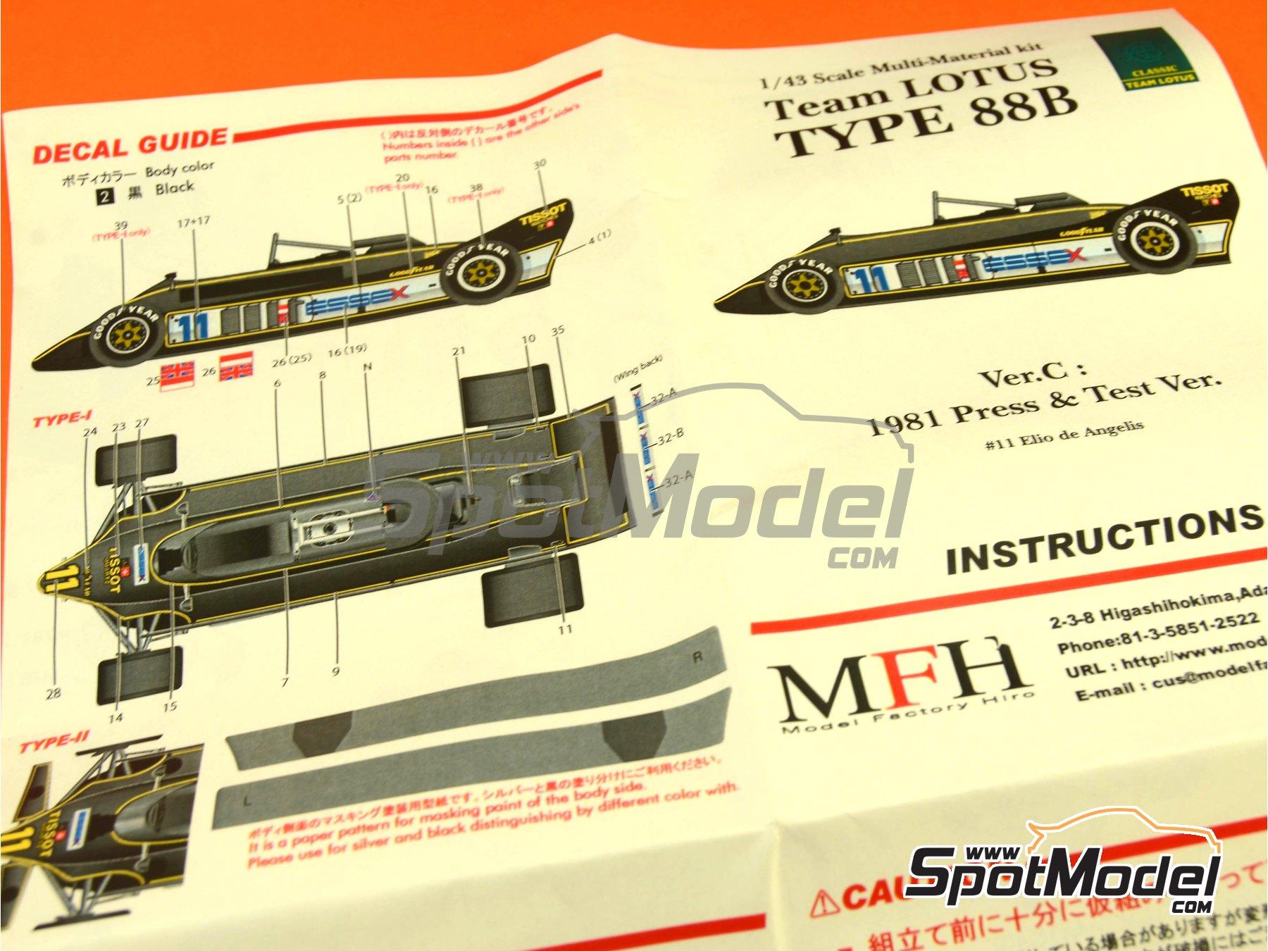 Image 2: Lotus Type 88B Essex - Version de prensa, Version de test 1981   Maqueta de coche en escala1/43 fabricado por Model Factory Hiro (ref.MFH-K369, tambien K-369)