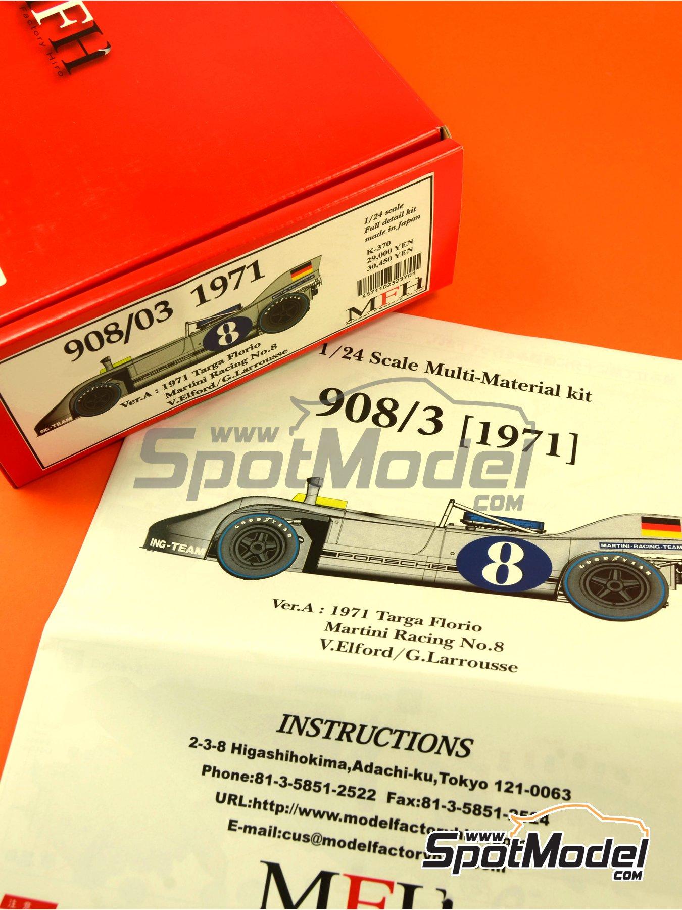 Porsche 908/03 Martini Racing - Targa Florio 1971   Maqueta de coche en escala1/24 fabricado por Model Factory Hiro (ref.MFH-K370, tambien K-370) image