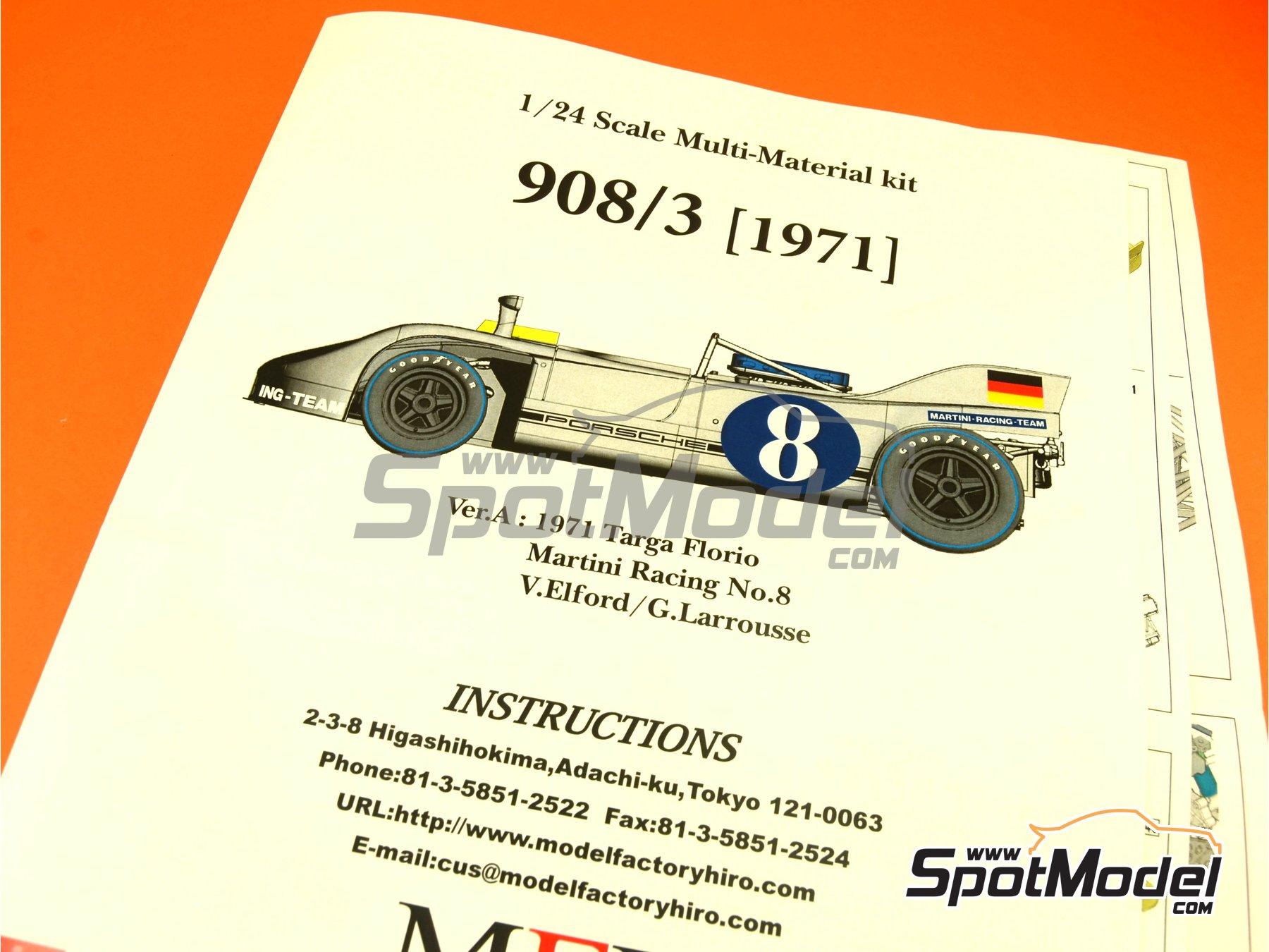 Image 1: Porsche 908/03 Martini Racing - Targa Florio 1971   Maqueta de coche en escala1/24 fabricado por Model Factory Hiro (ref.MFH-K370, tambien K-370)