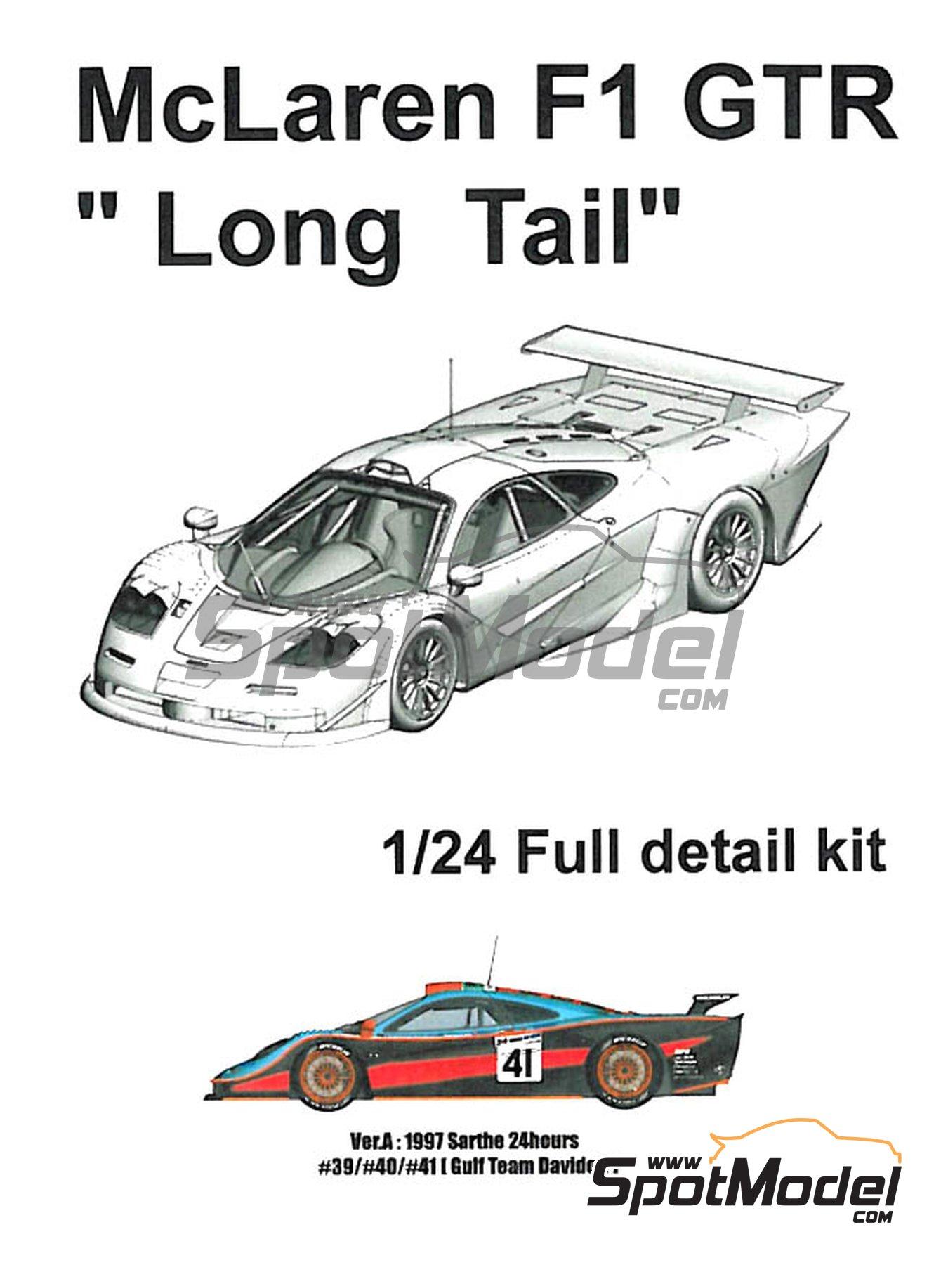 McLaren F1 GTR  Long Tail Gulf Davidoff - 24 Horas de Le Mans 1997   Maqueta de coche en escala1/24 fabricado por Model Factory Hiro (ref.MFH-K376, tambien K-376) image