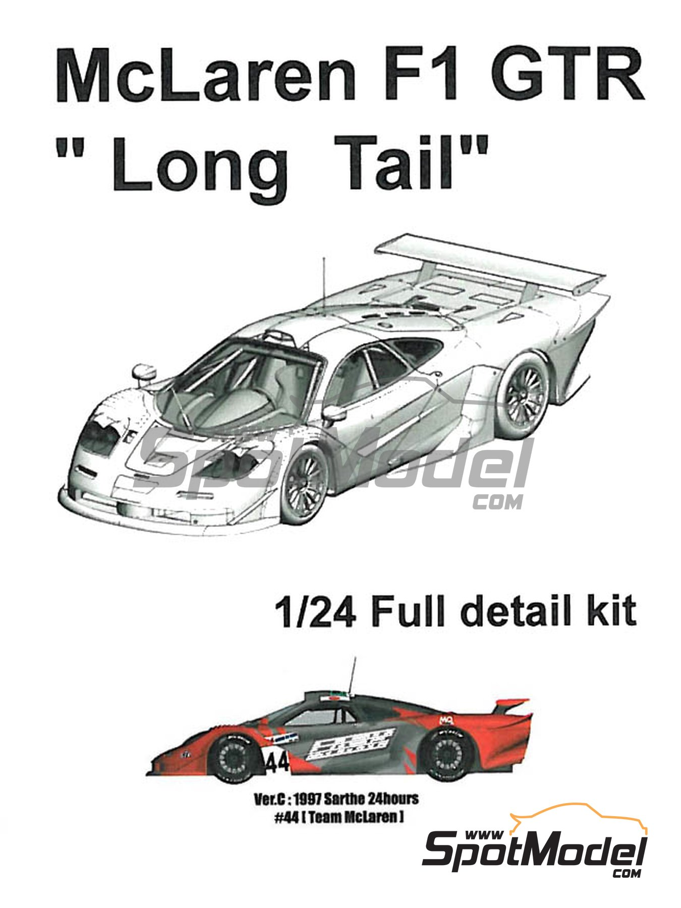McLaren F1 GTR  Long Tail Team McLaren - 24 Hours Le Mans 1997 | Model car kit in 1/24 scale manufactured by Model Factory Hiro (ref.MFH-K378, also K-378) image