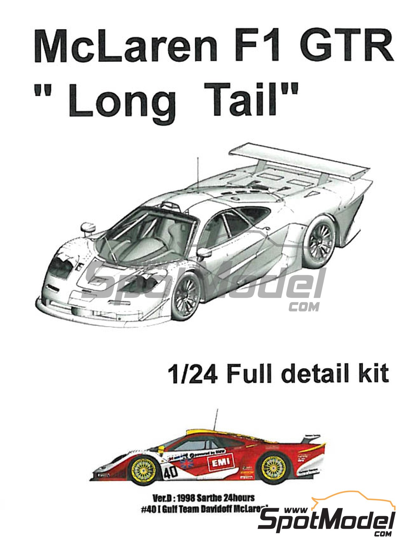 McLaren F1 GTR  Long Tail Gulf EMI Davidoff Team - 24 Hours Le Mans 1998 | Model car kit in 1/24 scale manufactured by Model Factory Hiro (ref.MFH-K379, also K-379) image
