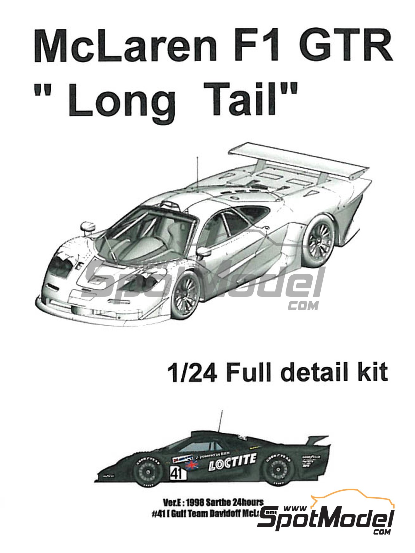 McLaren F1 GTR  Long Tail Loctite Gulf Davidoff - 24 Hours Le Mans 1998 | Model car kit in 1/24 scale manufactured by Model Factory Hiro (ref. MFH-K380, also K-380) image