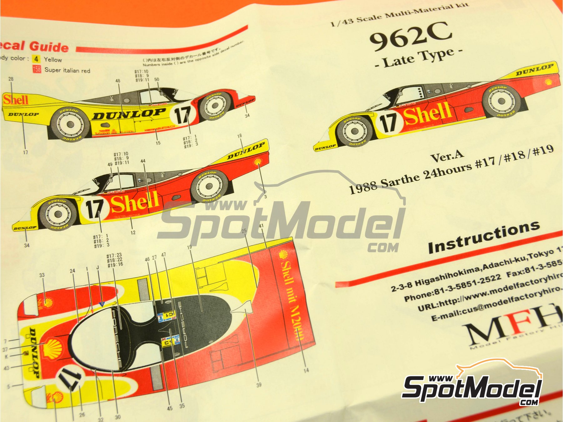 Image 1: Porsche 962C Shell - 24 Hours Le Mans 1988 | Model car kit in 1/43 scale manufactured by Model Factory Hiro (ref.MFH-K381, also K-381)