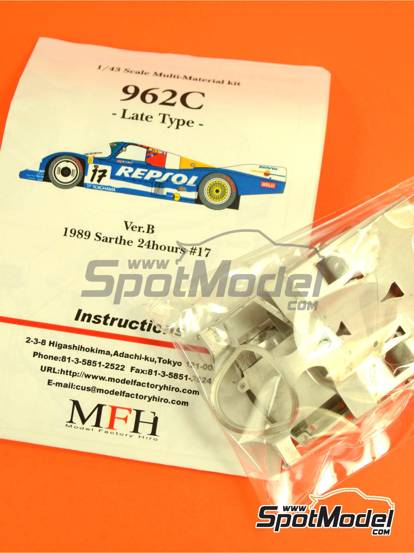 Porsche 962C Repsol - 24 Hours Le Mans 1989 | Model car kit in 1/43 scale manufactured by Model Factory Hiro (ref.MFH-K382, also K-382) image