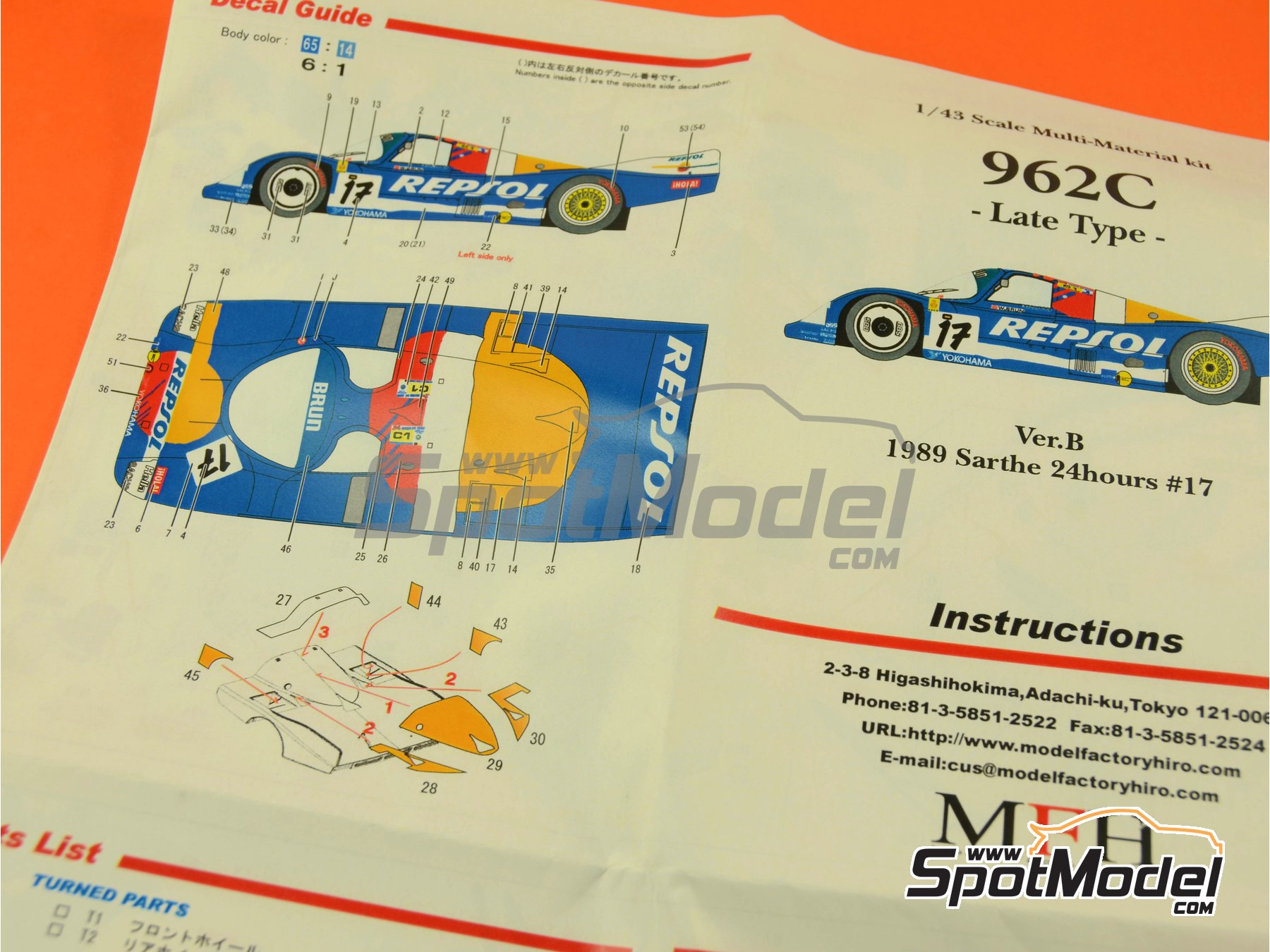 Image 15: Porsche 962C Repsol - 24 Hours Le Mans 1989 | Model car kit in 1/43 scale manufactured by Model Factory Hiro (ref.MFH-K382, also K-382)