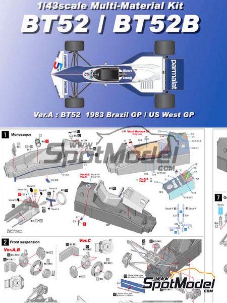 Brabham BT52 Parmalat - Gran Premio de Fórmula 1 de Brasil, Gran Premio de Fórmula 1 de USA West Long Beach 1983 | Maqueta de coche en escala1/43 fabricado por Model Factory Hiro (ref.MFH-K384, tambien K-384) image