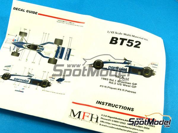 Image 10: Brabham BT52 Parmalat - Gran Premio de Fórmula 1 de Brasil, Gran Premio de Fórmula 1 de USA West Long Beach 1983 | Maqueta de coche en escala1/43 fabricado por Model Factory Hiro (ref.MFH-K384, tambien K-384)