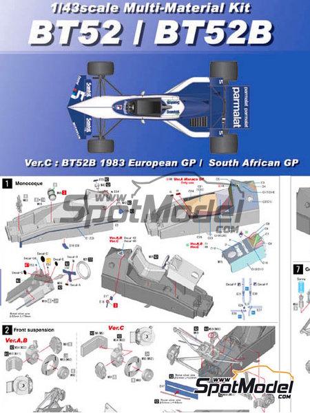 Brabham BT52B Parmalat - European Formula 1 Grand Prix, Italian Formula 1 Grand Prix 1983 | Model car kit in 1/43 scale manufactured by Model Factory Hiro (ref.MFH-K386, also K-386) image