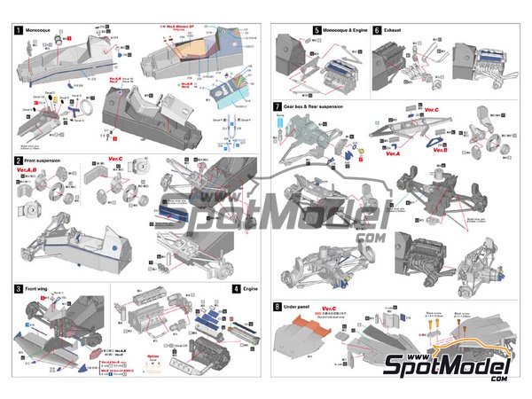 Image 2: Brabham BT52B Parmalat - European Formula 1 Grand Prix, Italian Formula 1 Grand Prix 1983 | Model car kit in 1/43 scale manufactured by Model Factory Hiro (ref.MFH-K386, also K-386)