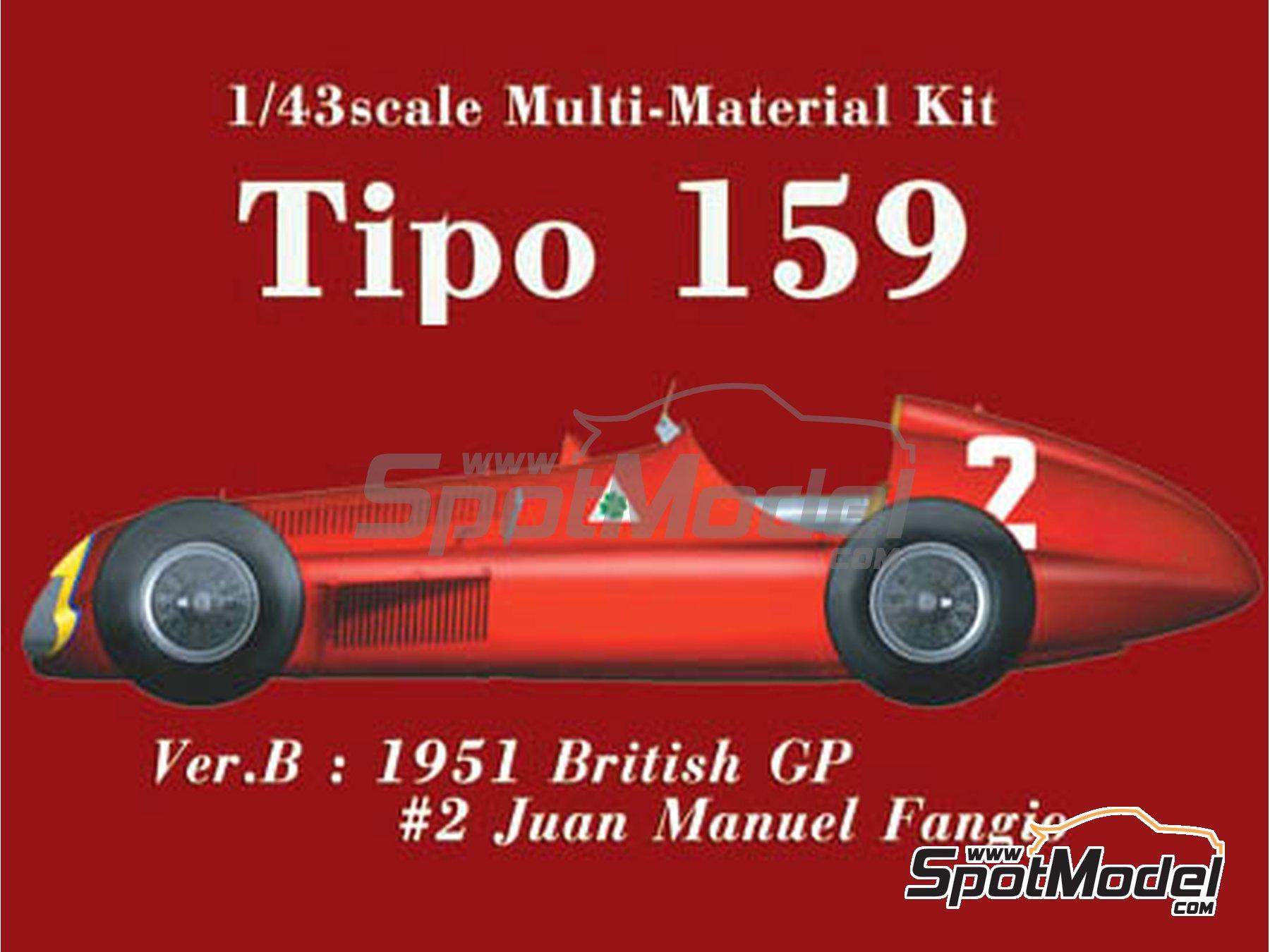 Image 1: Alfa Romeo Tipo 159 - Gran Premio de Fórmula 1 de Inglaterra 1951 | Maqueta de coche en escala1/43 fabricado por Model Factory Hiro (ref.MFH-K388, tambien K-388)